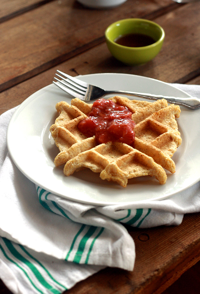 Vegan Cornmeal Waffle with Strawberry Rhubarb Ginger ...